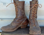 Vintage Cats Paw Sole 50s Smoke Jumper Packer Work Boots 7.5