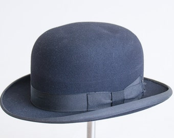 3988d41f6ac 1920s Stetson Derby Hat Black Wool Felt Mens Dress Hat size 7 1 8