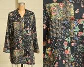 70s Patchwork Print Jacket Imperial Black Floral Cotton Button Down Coat