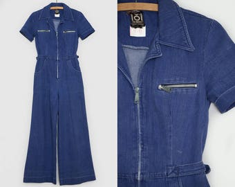 1e8fb1b72b93 70s Denim Jumpsuit Engineer Style Bell Bottom Jean Romper