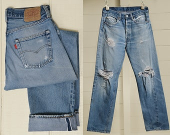 a4be9a6c 80s Levis Redline 501 Made In USA Distressed Denim Black Bar Blue Jeans 30  x 31