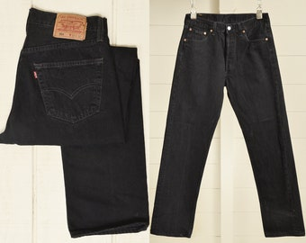 d88e8a0f 80s Levis 501 Black Perfectly Worn Button Fly Made in USA Denim Jeans 32 x  30.5