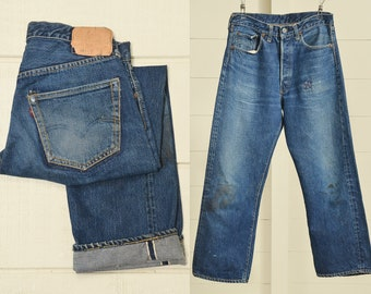 c79837f4 1950s Levis 501 XX Big E Hidden Rivets Redline Selvedge Indigo Denim Made  in USA Work Jeans 30 x 25