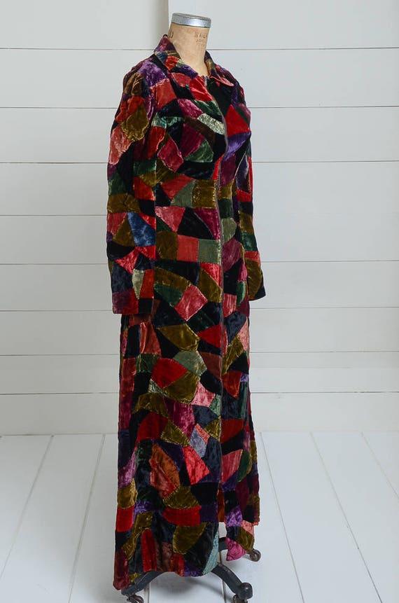 1920s Velvet Patchwork Quilt Coat Full Length Dus… - image 3