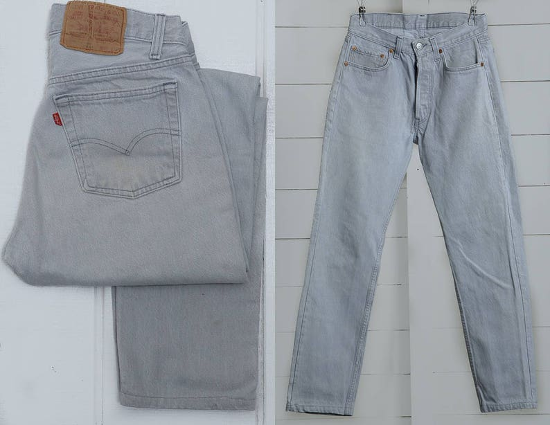 b9c61b91 Vintage Levis 501 Grey Denim Button Fly Made in USA High   Etsy