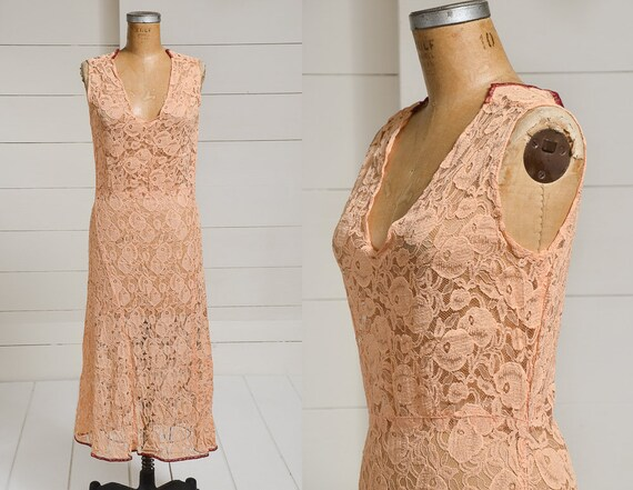1920s Peach Lace Dress Sherbet Pastel Fitted Eveni
