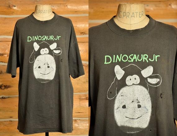90s Dinosaur Jr. Cow T Shirt Black Cotton Distres… - image 1