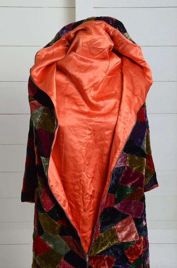 1920s Velvet Patchwork Quilt Coat Full Length Dus… - image 9