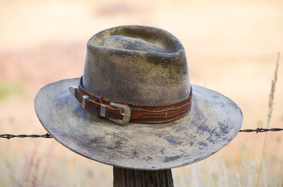 Vintage Distressed Western Hat Wide Brim Ranger Set w   c85a4543363