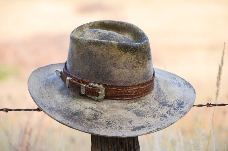 Vintage Distressed Western Hat Wide Brim Ranger Set w   3ba9c96b790