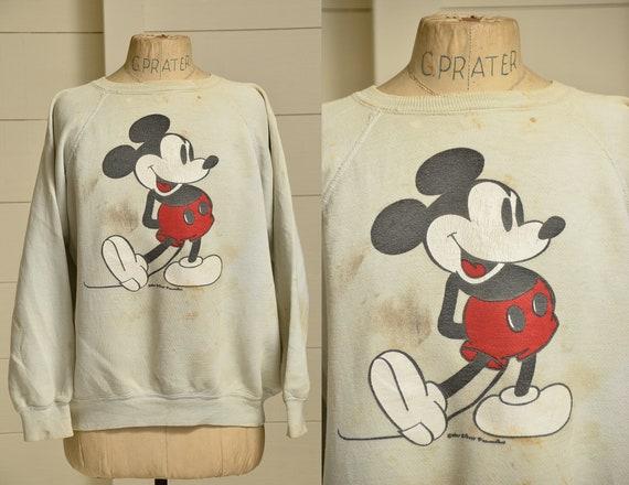 80s Mickey Mouse Sweatshirt Distressed Grey Mickey