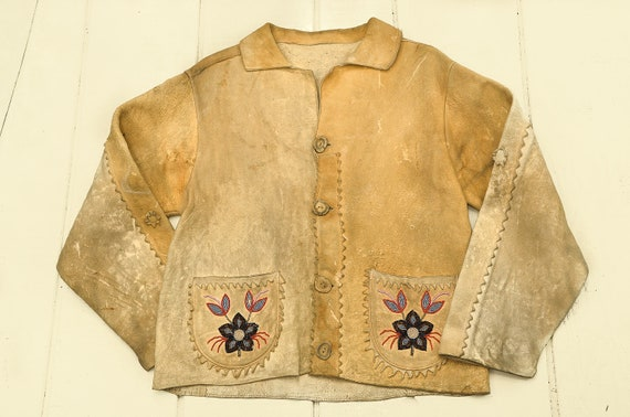 1800s Cree Indian Jacket Beaded Moosehide Plains I