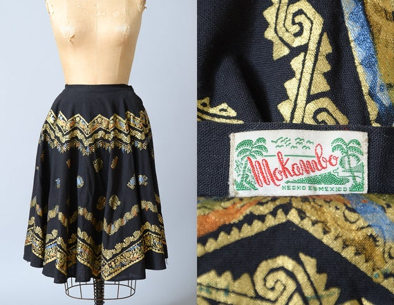 1950s Hand Painted Mexican Full Circle Skirt Mokam