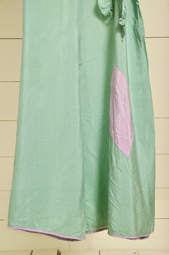 1930s Beach Pajamas Seafoam Green Silk Lounge Jum… - image 5