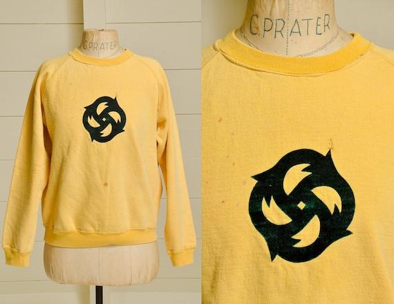 Early 70s Traffic Sweatshirt Yellow Cotton Flocked