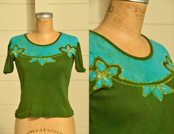 1970s Hand Batik Tie Dye Hippie Cotton Shirt