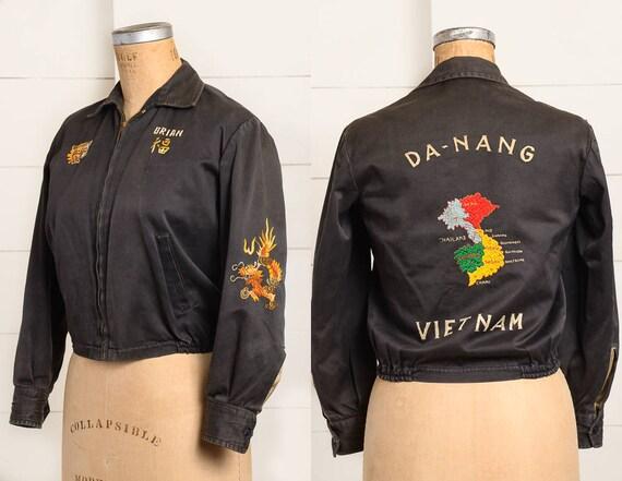 1960s Vietnam Souvenir Jacket Sateen Cotton Da Nan