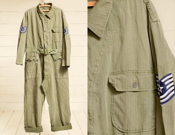 1940s H.B.T. WWll Flight Suit Jumpsuit Herringbone