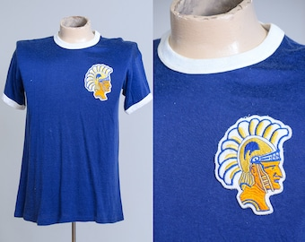 1960s Trojans Russell Southern School Jersey Blue and Gold Atheltic Rayon T Shirt