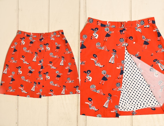 1960s Novelty Print Skort 1930s Beach Women Novelt