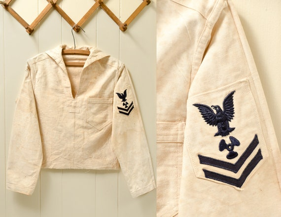 1930s Navy Cotton Smock Distressed Nautical Bibbed