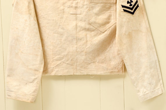 1930s Navy Cotton Smock Distressed Nautical Bibbe… - image 3