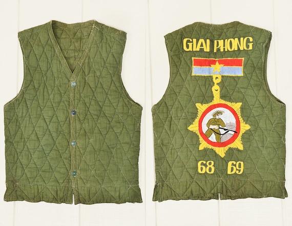 1960s Vietnam Souvenir Vest Giai Phong Embroidered