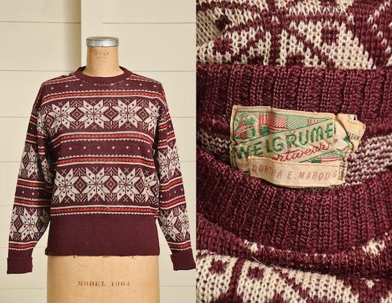 1940s Snowflake Sweater Burgundy & White Wool Knit