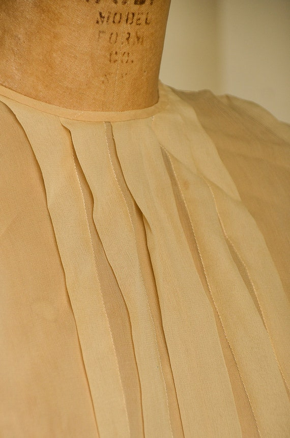 Antique Silk Blouse Sheer Ivory Button Back Pleat… - image 5
