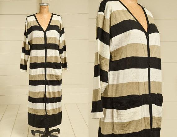 1980s Modern Stripe Dress  Button Down V Neck Avan