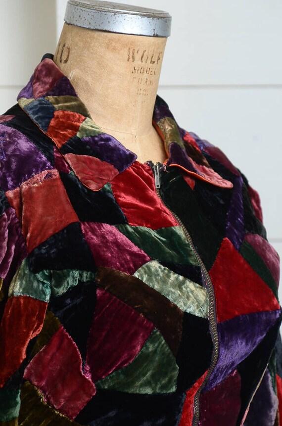 1920s Velvet Patchwork Quilt Coat Full Length Dus… - image 2