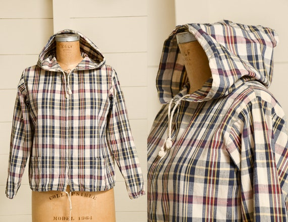 1960s Cotton Plaid Hooded Sportswear Lightweight Z