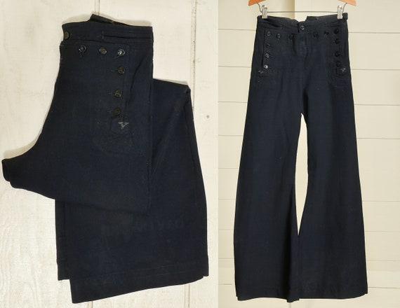 WWII Sailor Pants US Navy Military Black Wool Sail