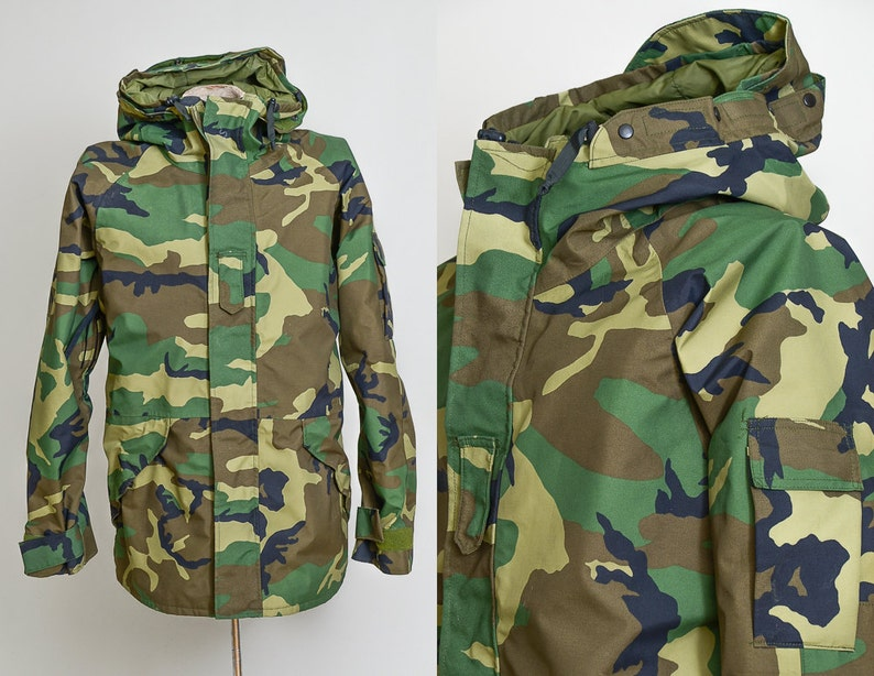 f6665b053cf Vintage Camouflage Parka US Army Goretex Hooded Field Mountain