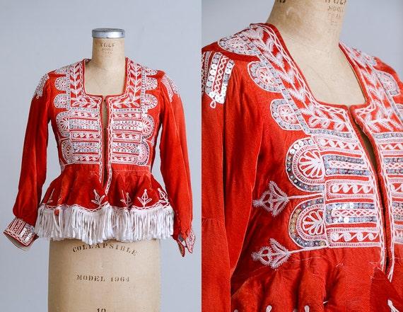 Antique Bolivian Folk Jacket Ceremonial Milkmaid V