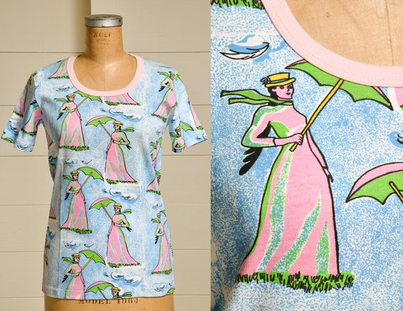 1970s Mary Poppins Deadstock Novelty Print All Ove