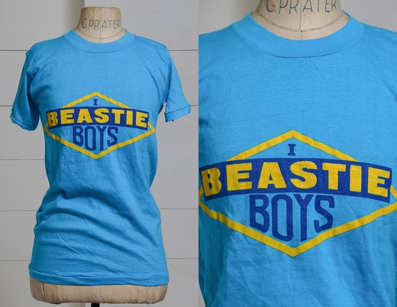 80s Beastie Boys Bootleg Hip Hop Blue Cotton T Shi