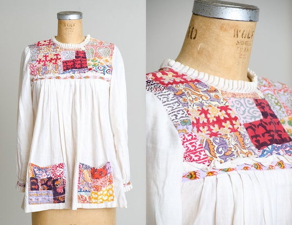 1960s Indian Cotton Hand Blocked Bohemian Babydol… - image 1