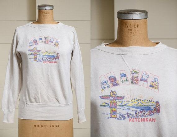 1940s V Stitch ALASKA Sweatshirt Ketchikan Souveni