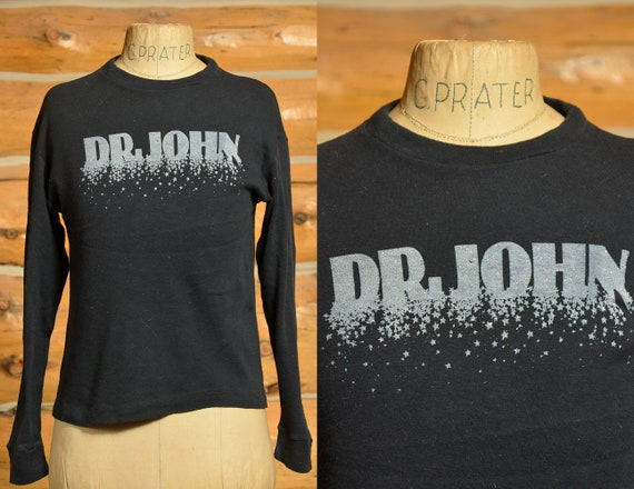 1970s Dr. John Glitter Print Long Sleeve Black Cot