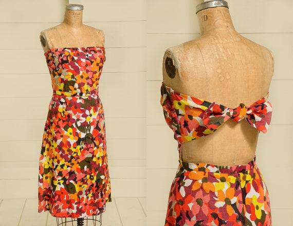 1950s Hawaiian Dress Barkcloth Floral Open Back Ro