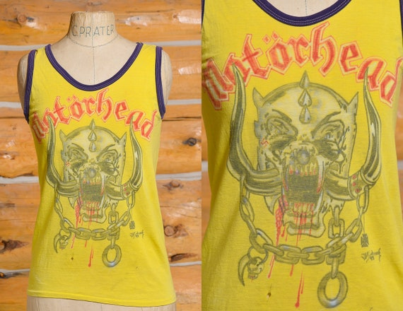 1980s Motorhead Fan Painted Yellow Hesher Tank Top