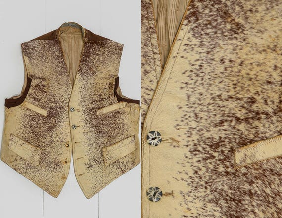 Antique 1800's Calf Skin Western Vest Cinch Back R