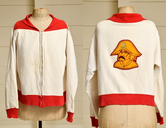 1950s Two Tone Pirate Sweatshirt White & Red Cotto