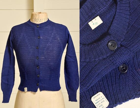 1950s Deadstock Cardigan Sweater Navy Blue Wool Kn
