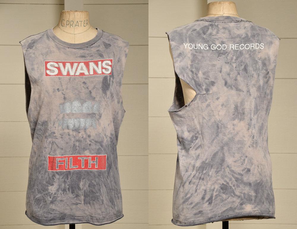 80 s cygnes Filth jeune Dieu Records détresse couper T Shirt Shirt T 1afd76