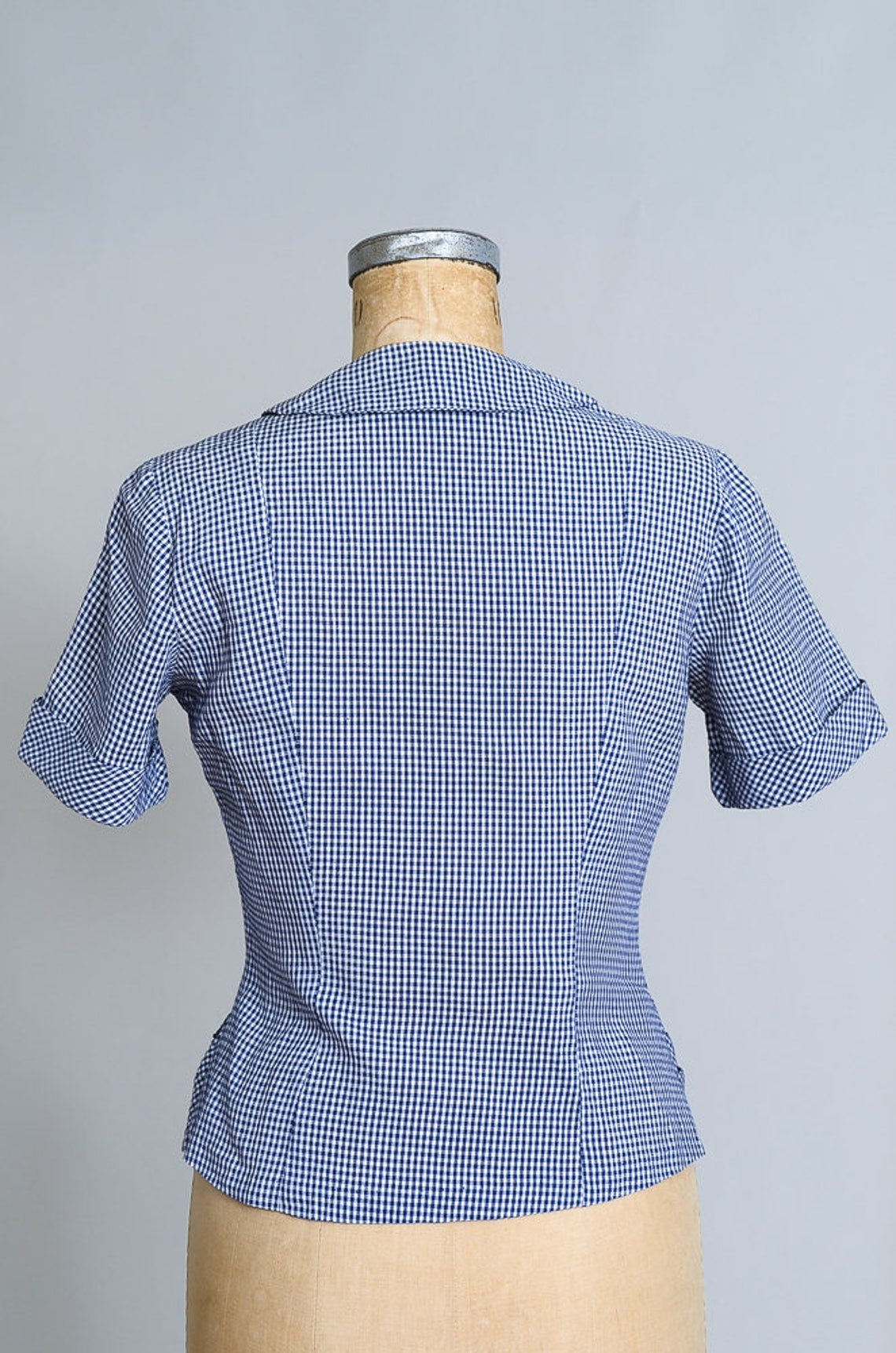 1950s Gingham Plaid Blouse Blue and White Jewel Button Down