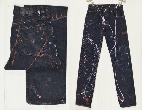 cf220a3867e 80s Levis 501 Paint Splatter Black Denim Button Fly Jeans Made | Etsy