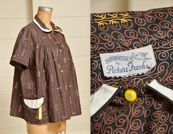 1950s Maternity Babydoll Blouse Black & Brown Butt