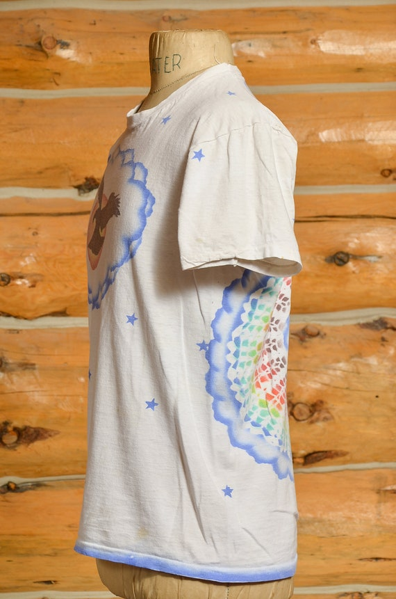 1970s Airbrush T Shirt Front and Back Eagle w/ Ra… - image 3